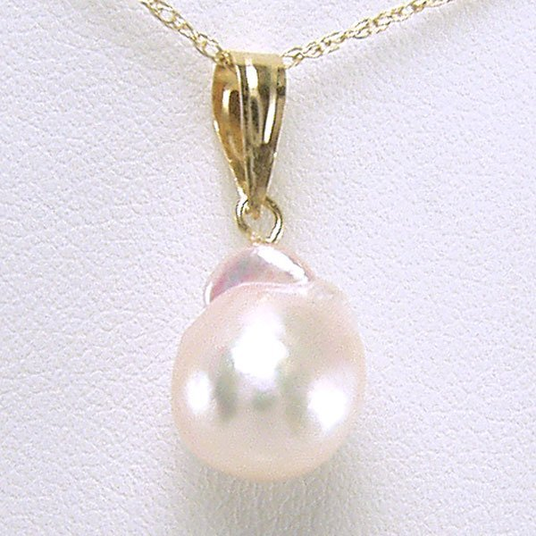 41556: 14KT Baroque Pearl Pendant w/ 16in Chain 10x20mm
