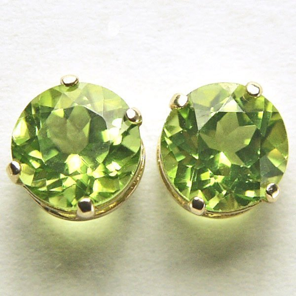 41025: 10KT 6mm Round Peridot Stud Earrings
