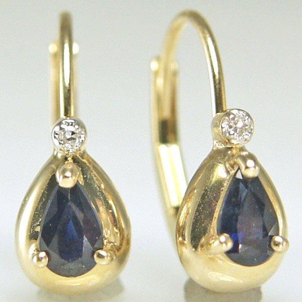 51322: 10KT Dia & Sapphire Lever Back Earrings 0.008ct