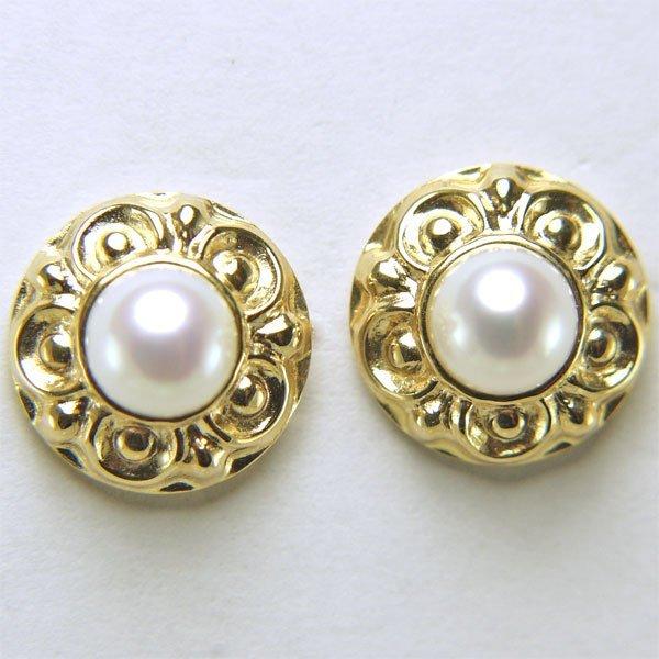 21034: 14KT 5.5mm Pearl stud Earrings apprx 10mm diamet