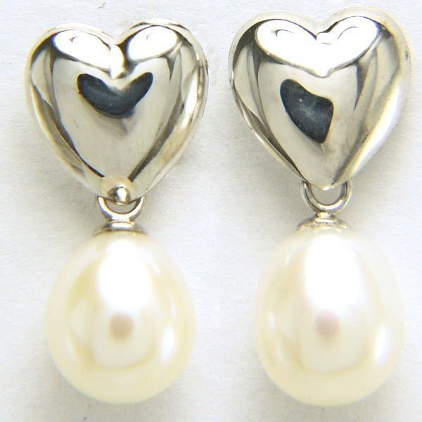 51037: 14KT 7mm Pearl Drop Earrings 17x7mm