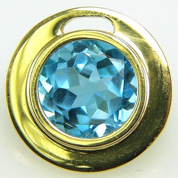 51626: 14KT Blue Topaz Circle Pendant 15mm 3.1cts