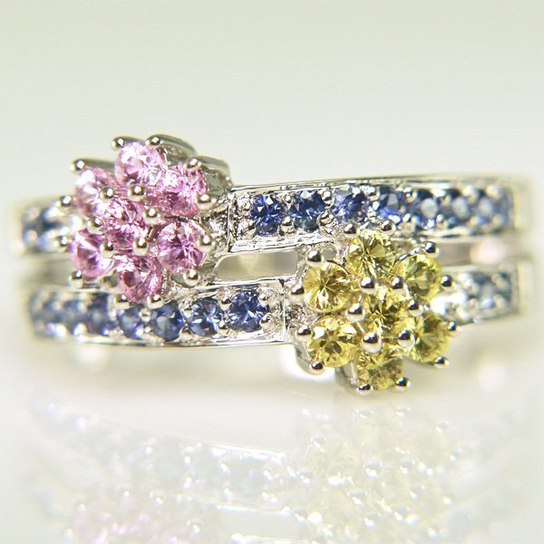51010: 14KT Multi-Sapphire Flower Ring Size 7