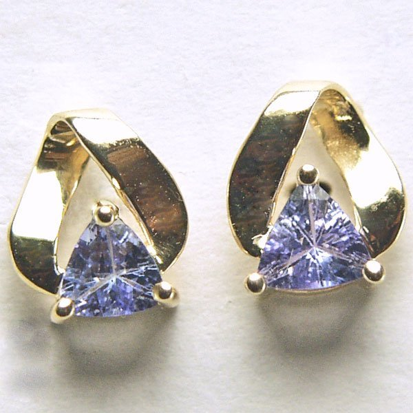 11001: 10KT 4mm Trillion Tanzanite Stud Earrings