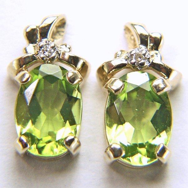 11007: 10KT Dia & Peridot Stud Earrings 0.008cts