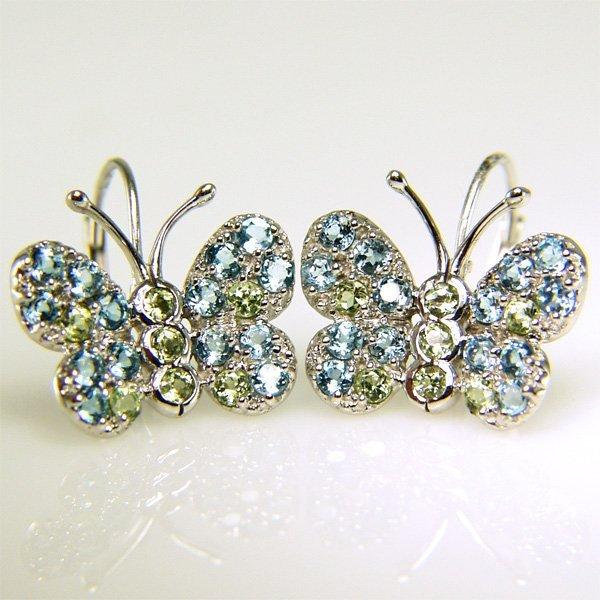 21003: 10KT Blue Topaz & Peridot Butterfly Earrings