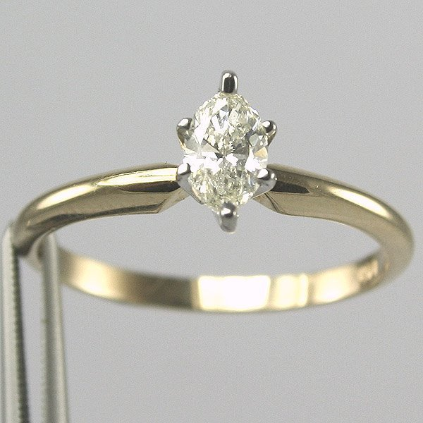 21534: 14KT 0.50CT Marquis Diamond Solitaire Ring Size