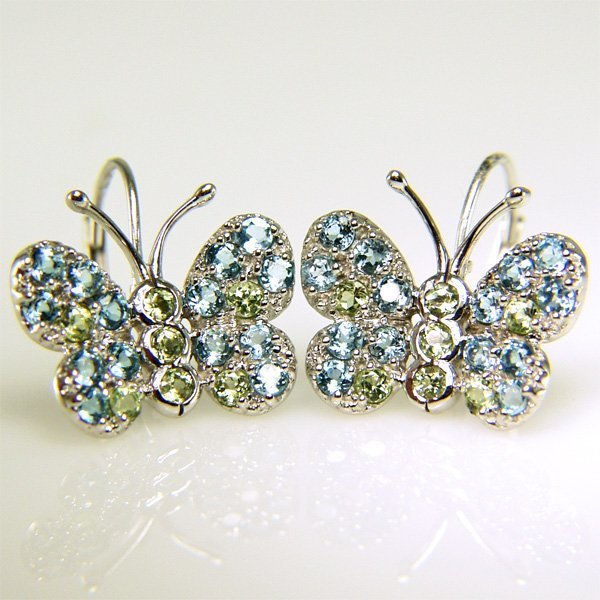 31003: 10KT Blue Topaz & Peridot Butterfly Earrings