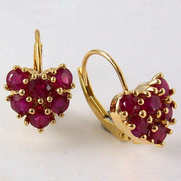 11031: 10KT Heart Ruby Lever Back Earrings
