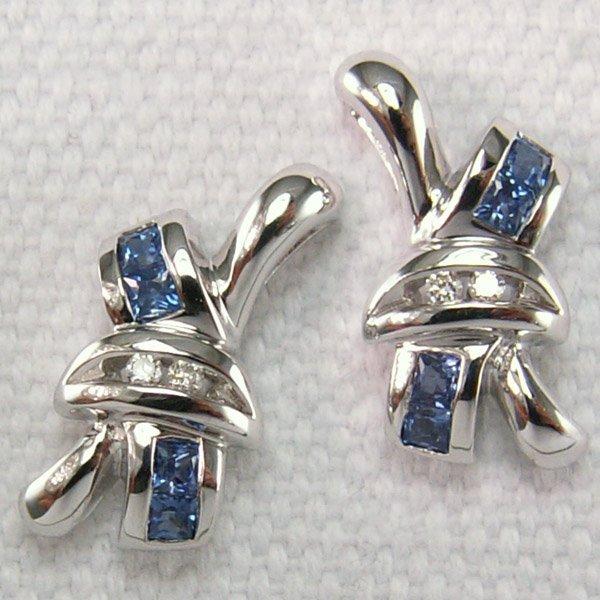 11110: 14KT Dia & Sapphire Stud Earrings 0.38tcw