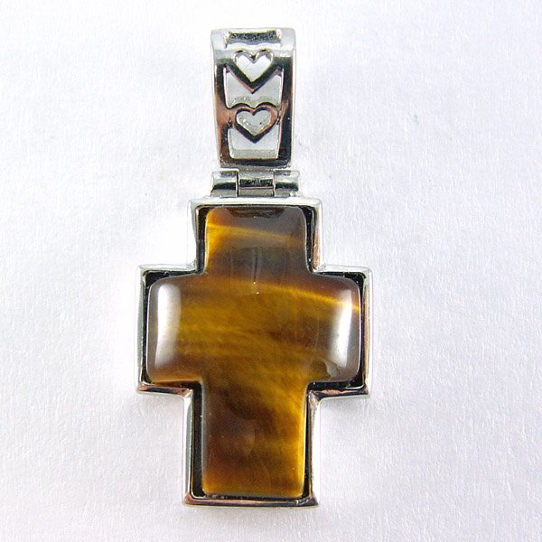 41021: Tigers Eye Cross Pendant 25x13mm