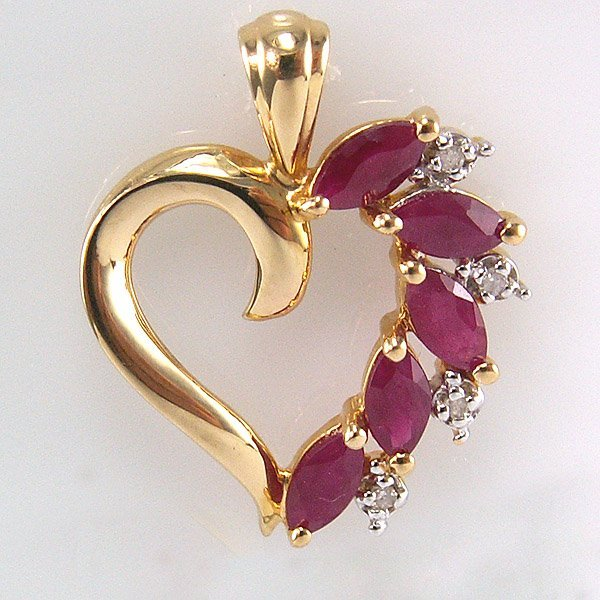 41101: 14KT Marquise Ruby and Diamond Heart Pendant 22m