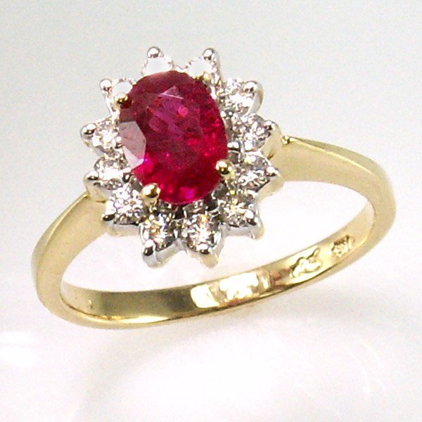 51687: 14KT Dia 0.32cts & Ruby 1.00ct Ring 7