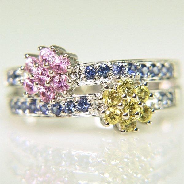 41010: 14KT Multi-Sapphire Flower Ring Size 7