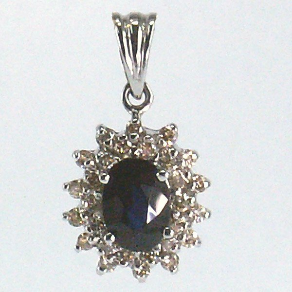 51020: 14KT Sapphire & Dia. Pendant 1.29tcw 20mm