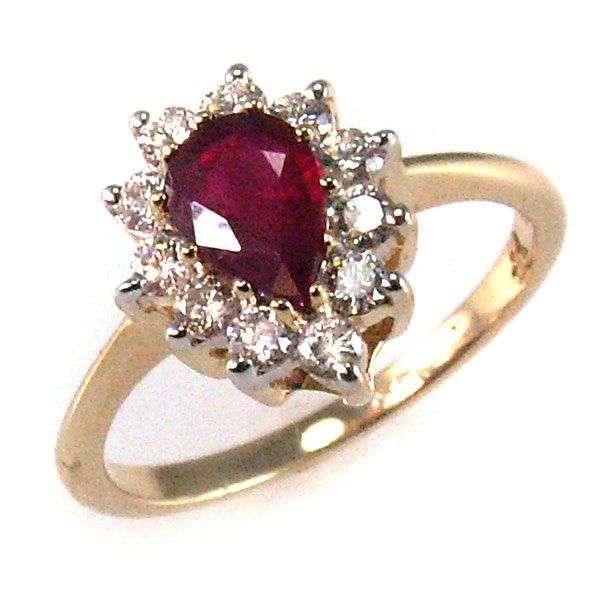 51538: 14KT Dia 0.44cts & Ruby 0.875ct Ring 6.5