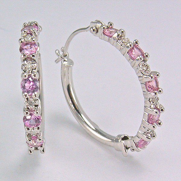 11024: 10KT Dia & Pk Sapphire Hoop Earrings 0.025ct