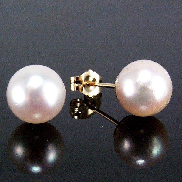 41003: 14KT Simply Elegant Pearl Stud Earrings 8mm