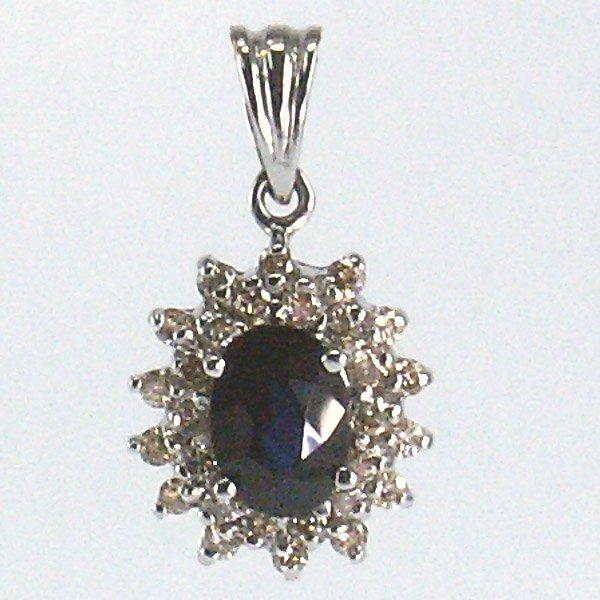41020: 14KT Sapphire & Dia. Pendant 1.29tcw 20mm