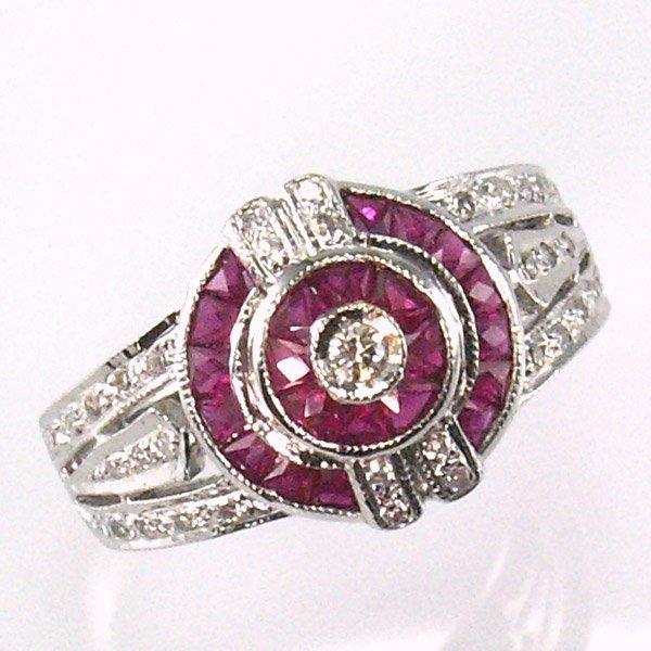 51046: 14KT RUBY DIAMOND RING 1.15 TCW SZ 7.5
