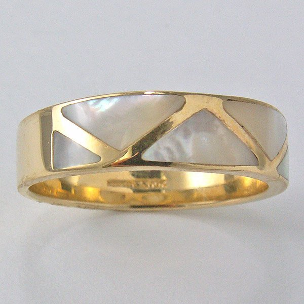 11033: 10KT MOP INLAY BAND SIZE 7