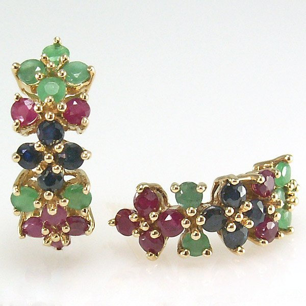 41003: 10KT MULTI-GEM CLUSTER STUD EARRINGS