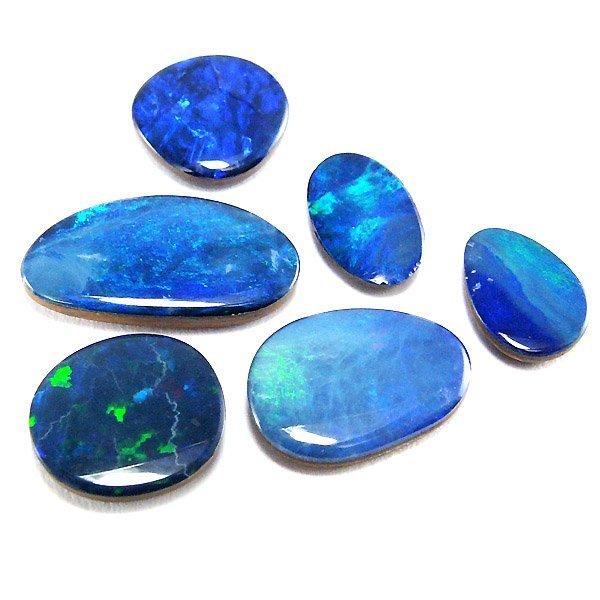 21026: Set of 6 Boulder Opal Doublets 8.46cts