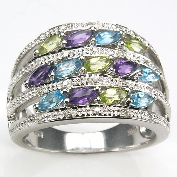 51027: 10KT MULTI GEMS STONE RING SZ 7