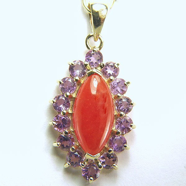 11008: 14KT AMY. & RED JADE PENDANT 30X15MM 0.56TCW