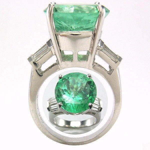 22680: PLATINUM EMERALD DIAMOND RING SZ 7 9.50 CTS