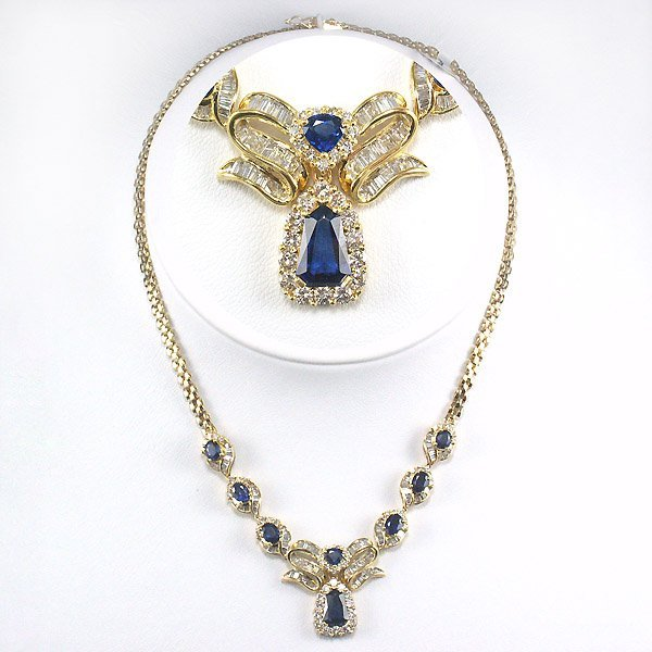 41602: 18KT SAPPHIRE DIAMOND NECKLACE 10.85 CTS