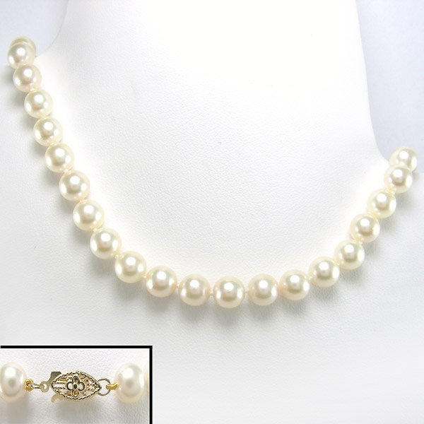 """41007: 14KT 7.5-8MM AKOYA PEARL NECKLACE 18"""""""