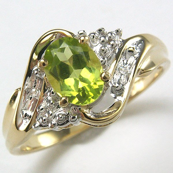 51047: 14KT PERIDOT DIAMOND RING 2.45TCW SZ 6.5