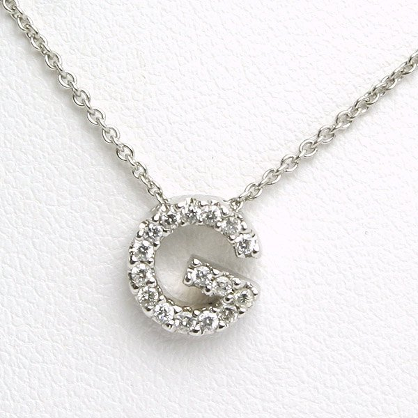 "51063: 14KT DIAMOND ""G"" PENDANT NECKLACE"