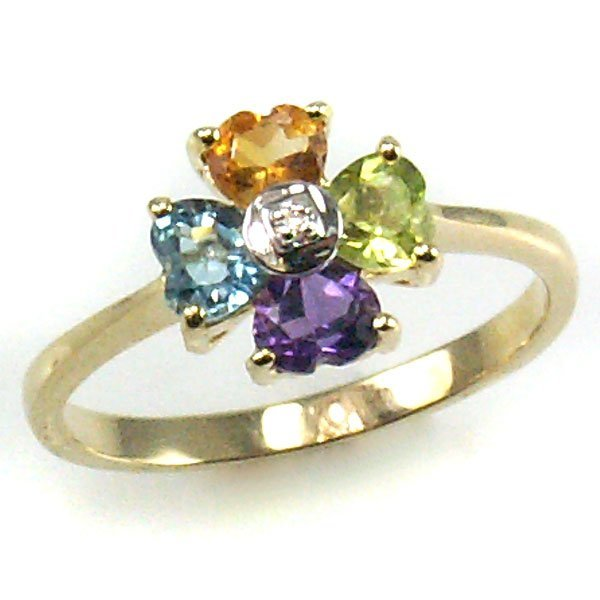 51070: 10KT DIA & MULTI GEMSTONE RING 0.99TCW SIZE 6.75