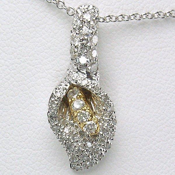 "21011: 18KT DIAMOND CALLA LILY NECKLACE 16"" 0.45TCW"