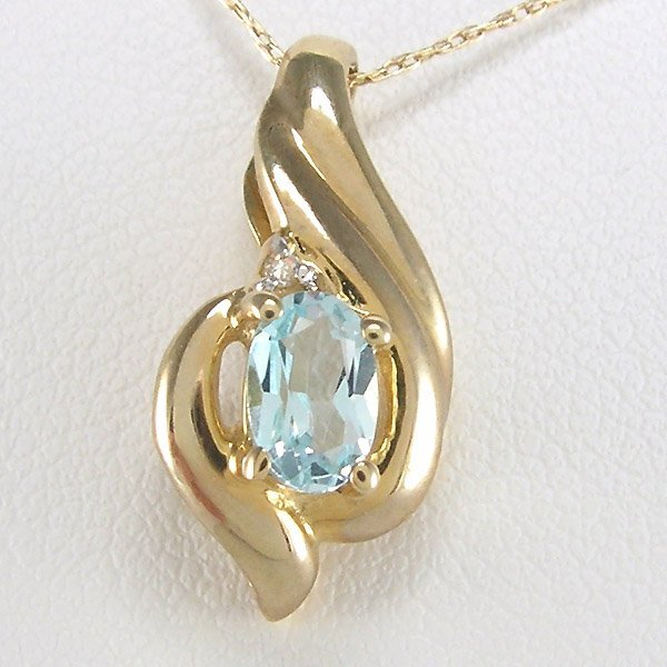 "41029: 10KT BL TOPAZ & DIA ACCENT NECKLACE 18"" 18X9MM"