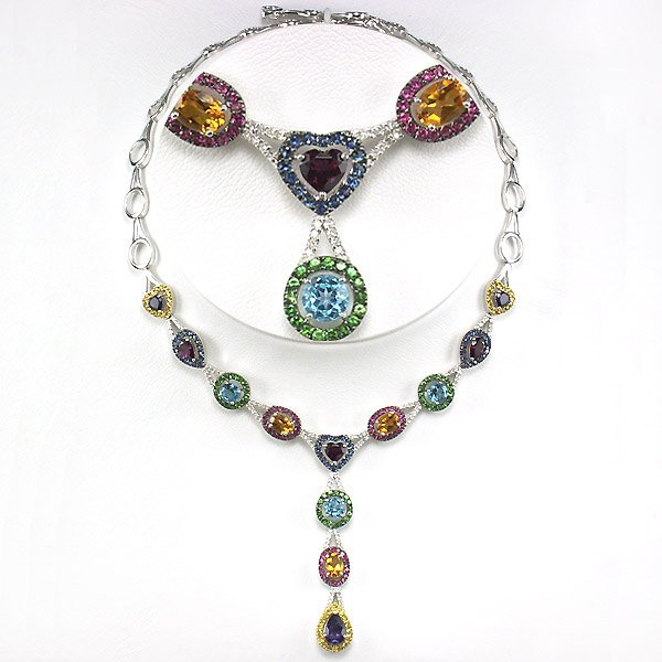 "41251: 10KT DIA & MULTI-GEM NECKLACE 16"" 14.29TCW"