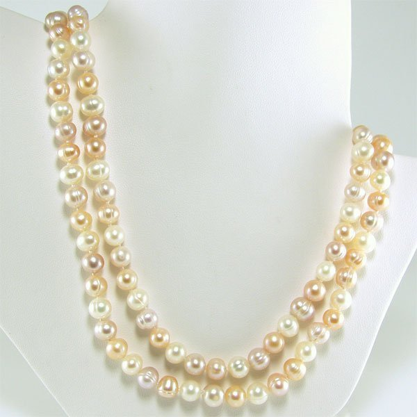41030: 6-7.5MM FRESHWATER MULTI-PINK PEARL NECKLACE 48I