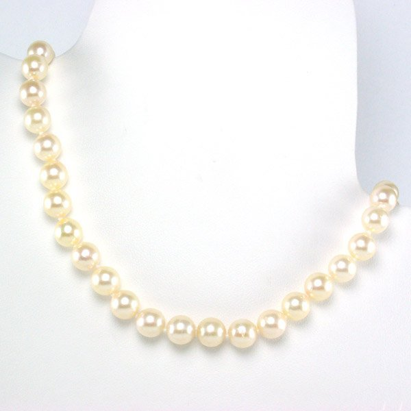 """31012: 14KT 7-7.5MM AKOYA PEARL NECKLACE 17"""""""