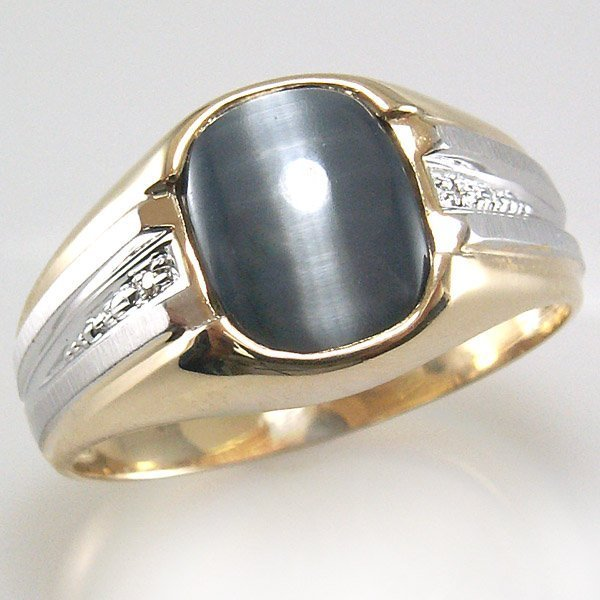 51002: 10KT CAT'S EYE DIAMOND MENS RING