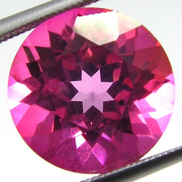 11019: PINK TOPAZ ROUND CUSHION CUT 10MM 5.03CTS