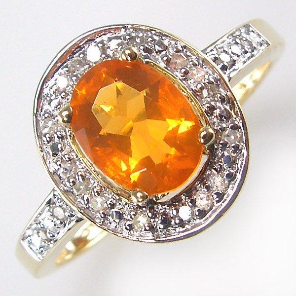 31032: 14KT MEXICAN FIRE OPAL DIAMOND RING 0.65TCW SZ 9