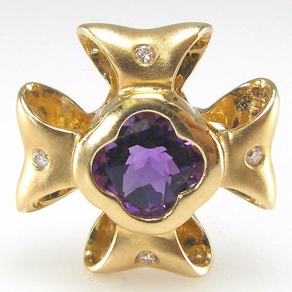 41016: 14KT AMETHYST DIAMOND RIBBON PENDANT  0.99CTS