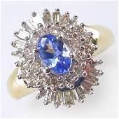 51140: 14KT TANZANITE DIAMOND RING SZ 6 0.93CTS