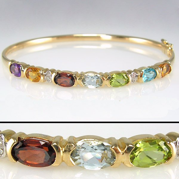 51019: 10KT DIA MULTI-GEM- 5X4MM BANGLE BRACELET