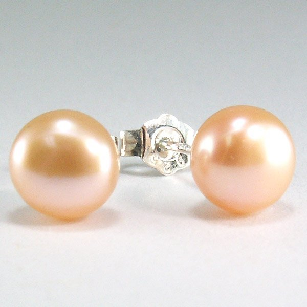21033: SS 7.5-8MM PEACH FW BUTTON PEARL STUD EARRINGS