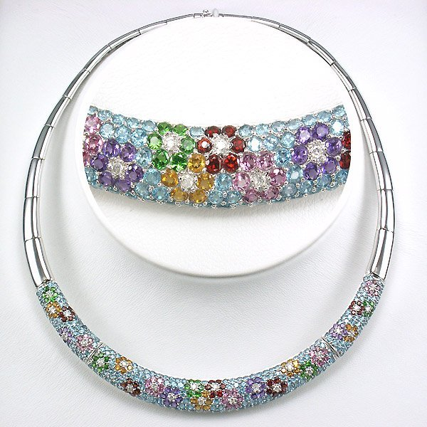 "21270: 10KT DIA & MULTI-GEM NECKLACE 16"" 16.74TCW"