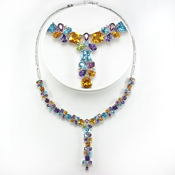 "21298: 10KT DIA & MULTI-GEM NECKLACE 16"" 22.18TCW"