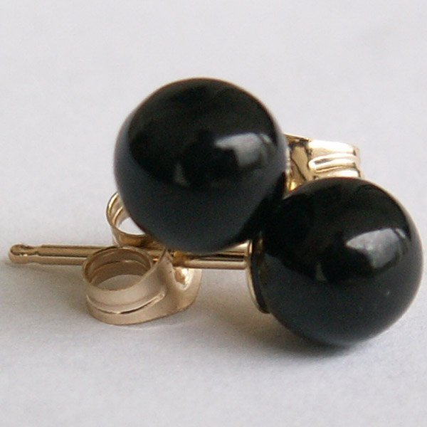 41009: 14KT. BLACK CORAL STUD EARRINGS - APPROX 5.4MM